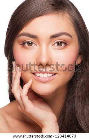 Portrait of pretty young woman with beautiful healthy skin touching her cheek. Isolated on white background - stock photo