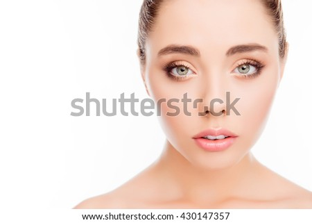 Portrait of pretty young woman with natural make up - stock photo