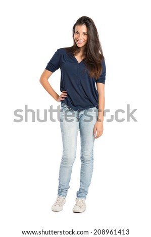 Portrait Of Proud Smiling Woman Standing Isolated On White Background - stock photo