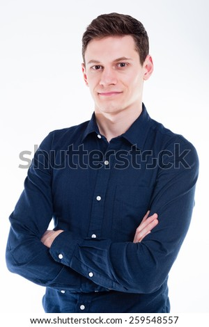 Portrait Of Proud Young Businessman Looking At Camera Isolated On White Background - stock photo