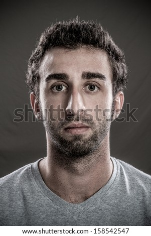 Portrait of Real young man - stock photo