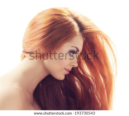 Portrait of redhead beautiful girl isolated on white - stock photo