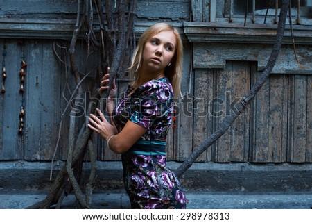 Portrait of romantic woman. Autumn. - stock photo