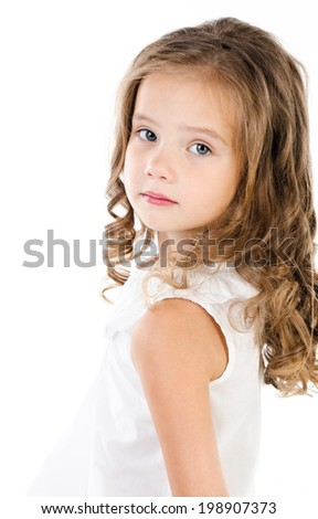 Portrait of sad adorable little girl isolated on a white - stock photo