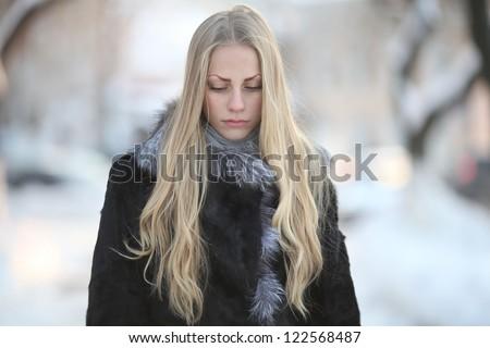 portrait of sad beautiful girl, stress, sadness, winter - stock photo