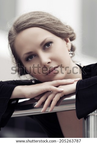 Portrait of sad beautiful woman outdoor  - stock photo