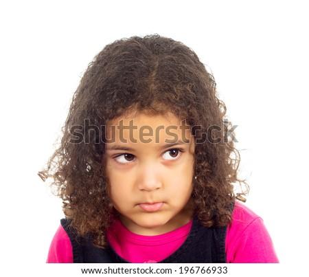 Portrait of sad child isolated on white background  - stock photo