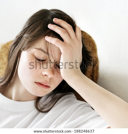 Portrait of Sad Teenage Girl at the Home - stock photo