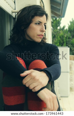 Portrait of sad 35 years old woman - stock photo