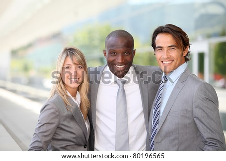 Portrait of sales people meeting outside the office - stock photo