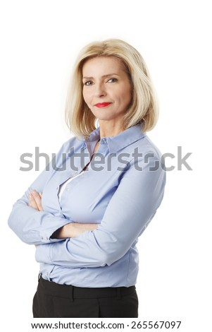 Portrait of sales woman standing against white background.  - stock photo