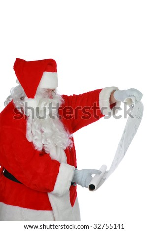 portrait of Santa Claus reading from his list isolated on white with room for your text - stock photo