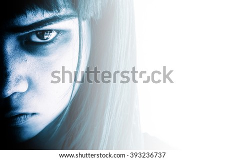Portrait of scary girl staring at cameras,Aggressive woman with scary eyes,Horror background for halloween concept and book cover ideas  - stock photo