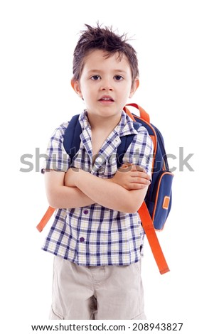 Portrait of school kid standing with arms crossed, isolated on white background - stock photo