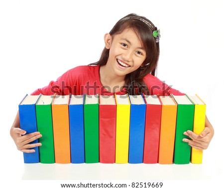 portrait of schoolgirl smiling with her books on his arms against white background - stock photo