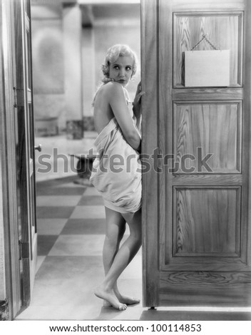 Portrait of seductive woman - stock photo