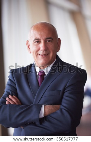 portrait of senior business man alone in modern corporate  office indoors - stock photo