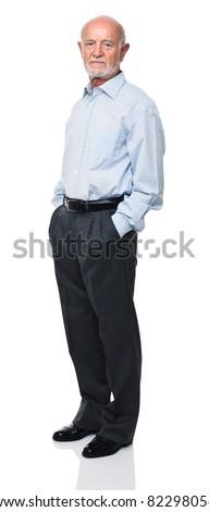 portrait of senior caucasian worker - stock photo