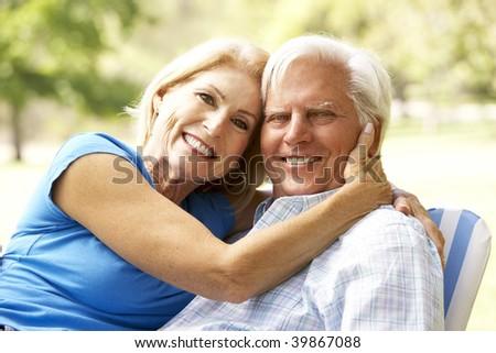 Portrait Of Senior Couple Enjoying Day In Park - stock photo