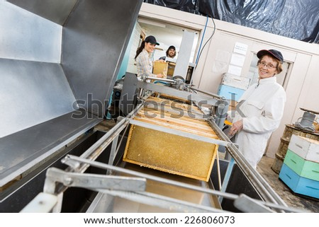Portrait of senior female beekeeper working on honey extraction plant with colleagues in factory - stock photo