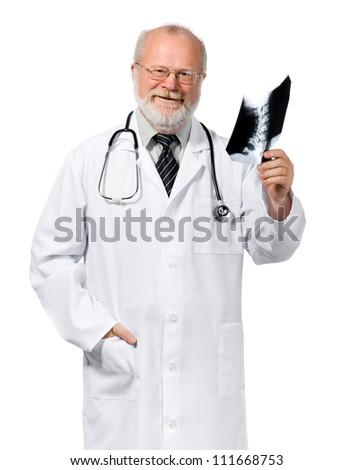 Portrait of senior friendly orthopaedic holding x-ray. Isolated over white background - stock photo
