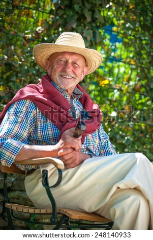 Portrait of senior man outdoors with sunglasses - stock photo