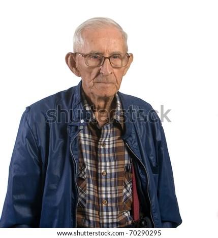 Portrait of senior man wearing eyeglasses. Shot against a white background. - stock photo
