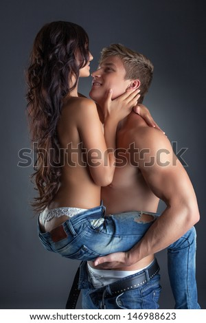 Portrait of sensual excited lovers, close-up - stock photo