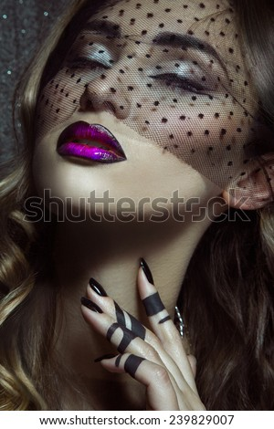 Portrait of sensual woman with closed eyes and make up in studio. woman with healthy skin - stock photo
