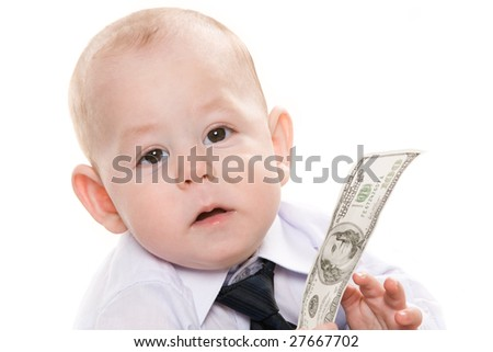 Portrait of serious baby boy with dollar banknote looking at camera - stock photo