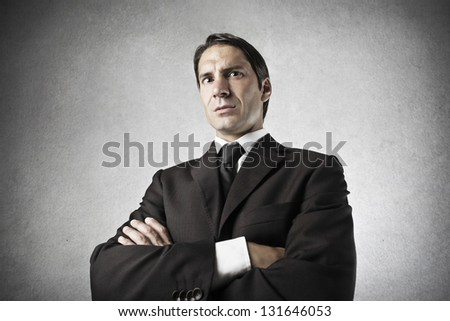 portrait of serious businessman - stock photo