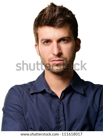 Portrait Of Serious Man Isolated On White Background - stock photo