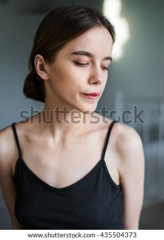 Portrait of sexual young woman close up the house - stock photo