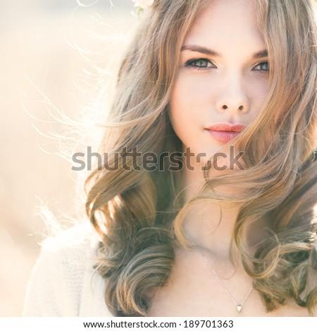 Portrait of sexy blonde closeup - stock photo