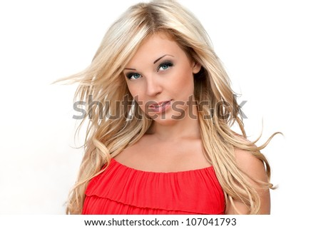 portrait of sexy blonde girl in a red dress with a chic blond hair - stock photo