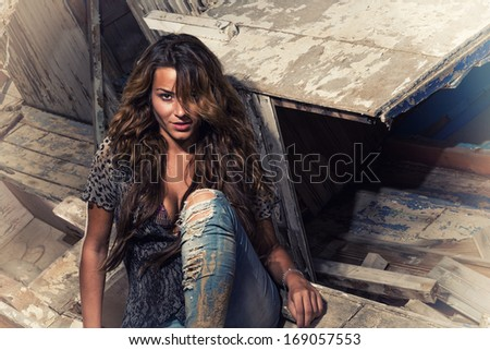 portrait of sexy brunette woman posing in front of an old wooden ship wreck - stock photo