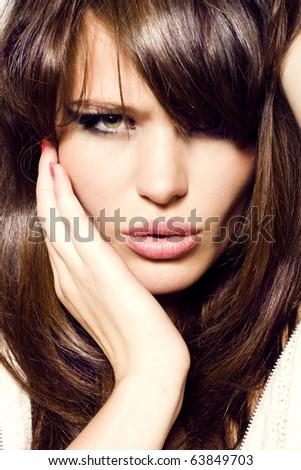 Portrait of sexy girl. Pretty sensual woman face - stock photo