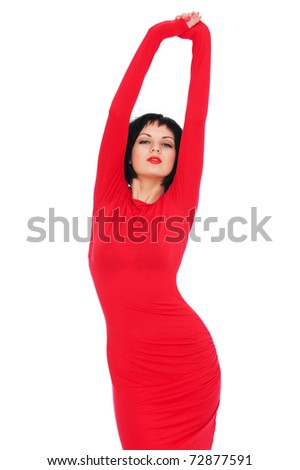 portrait of sexy woman in red dress - stock photo