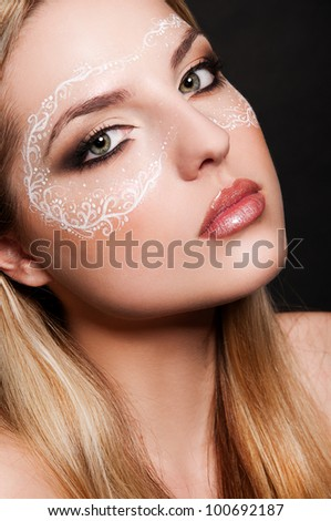 portrait of sexy woman with mask on face - stock photo