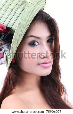 Portrait of sexy young woman in hat - stock photo