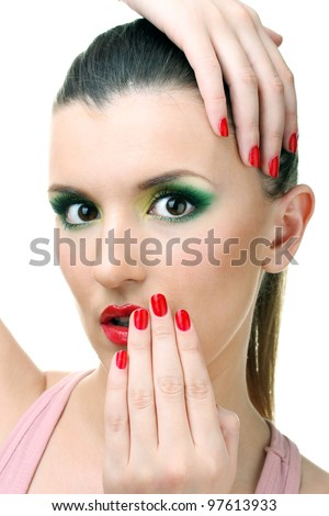 portrait of sexy young woman with glamour make up and red manicure - stock photo