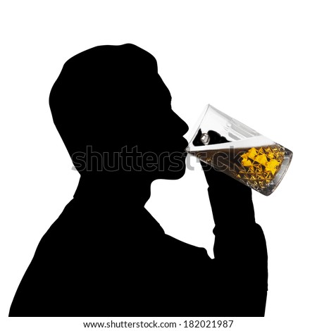 Portrait of silhouette man drink a glass of beer - stock photo