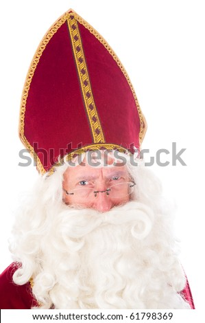 Portrait of Sinterklaas, a Dutch tradition which is celebrated at December 5th. - stock photo