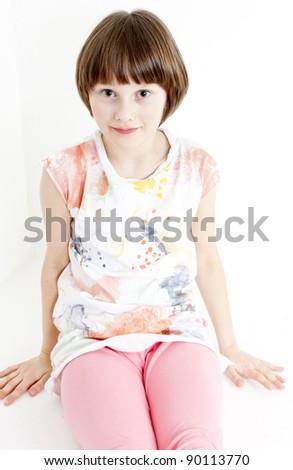portrait of sitting girl - stock photo