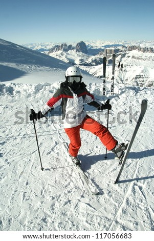 Portrait of skier on the slope. Prepare for skiing. - stock photo