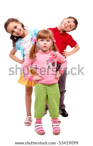Portrait of smart girl standing before her happy friends over white background - stock photo