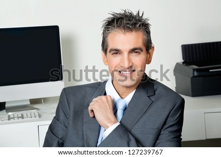 Portrait of smart mid adult businessman at office - stock photo