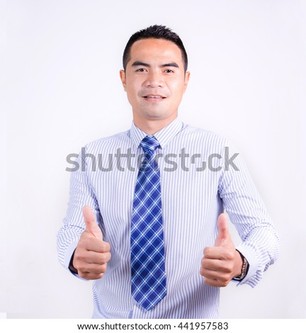 Portrait of smile asian Thai business man showing double thumb up on the white background - stock photo