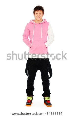 portrait of smiley guy in pink sweatshirt over white background - stock photo
