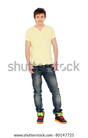 portrait of smiley man in yellow t-shirt. isolated on white background - stock photo